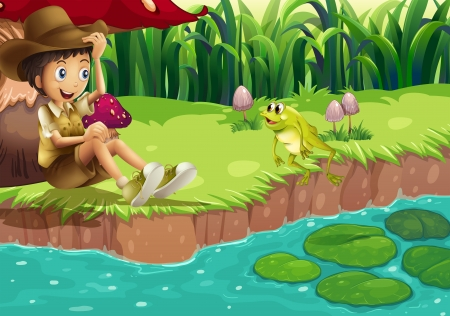 lilypad: Illustration of a boy and a frog at the riverbank Illustration