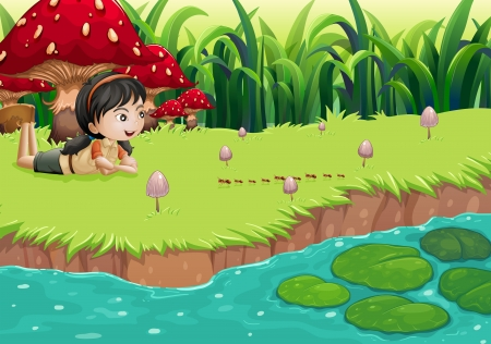 riverbank: Illustration of a girl at the riverbank near the red mushrooms Illustration