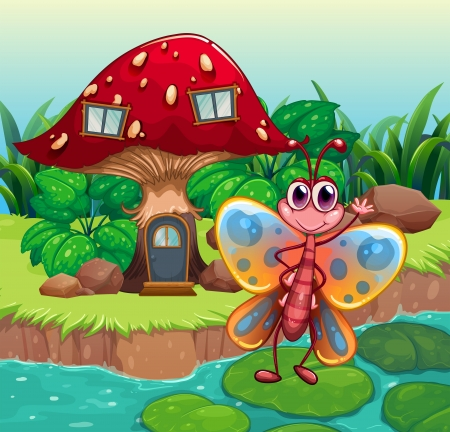 Illustration of a giant mushroom house near the river with a butterfly