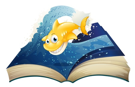 storybook: Illustration of an open storybook with a smiling shark on a white background