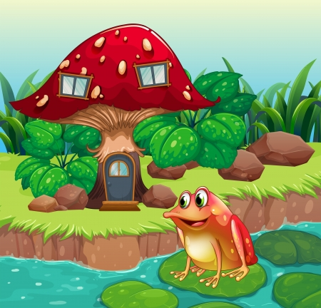 giant mushroom: Illustration of a giant mushroom house near the river with a frog