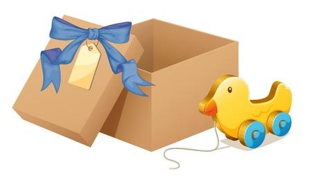 brown box: Illustrazione di una papera di legno accanto a una scatola marrone su uno sfondo bianco Vettoriali