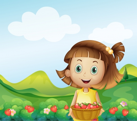 Illustration of a girl holding a basket of strawberries Vector