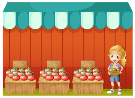Illustration of a girl selling tomatoes on a white background Stock Vector - 20889236