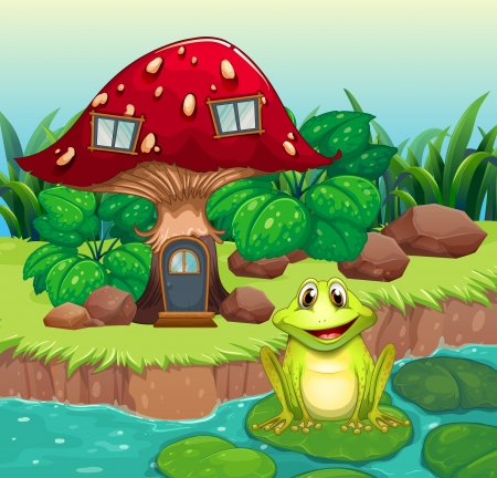 Illustration of a frog above a waterlily in front of a mushroom house Vector