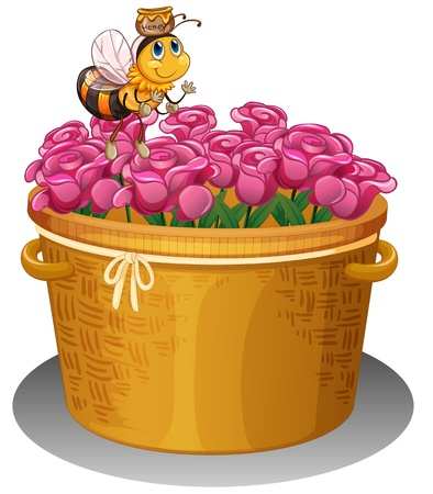 nectar: Illustration of a bee with a pot of honey flying above the basket with flowers on a white background