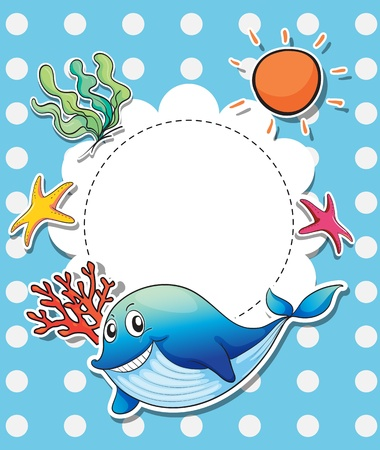 Illustration of an empty template with sea creatures Stock Vector - 20889245