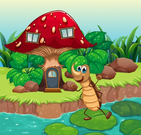 hard rain: Illustration of a cockroach dancing in front of a mushroom house