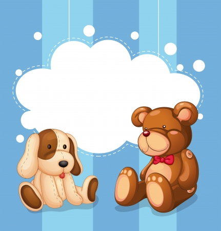 stuffed animals: Illustration of an empty cloud template with stuffed toys
