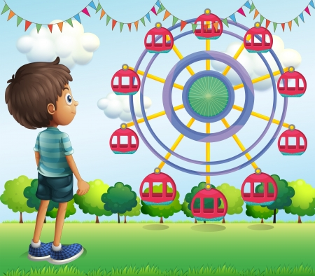 Illustration of a boy watching the ferris wheels Vector