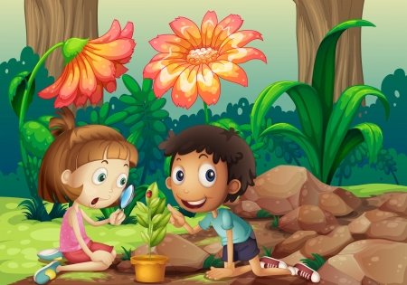 Illustration of a girl and a boy looking at the plant with a magnifying glass Vector