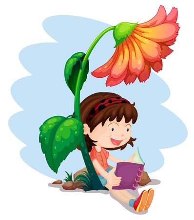 below: Illustration of a girl reading a book below the giant flower on a white background  Illustration
