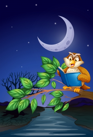 Illustration of an owl reading above a branch of a tree Vector