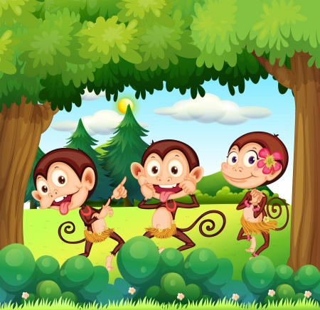 Illustration of the three monkeys dancing at the forest  Vector