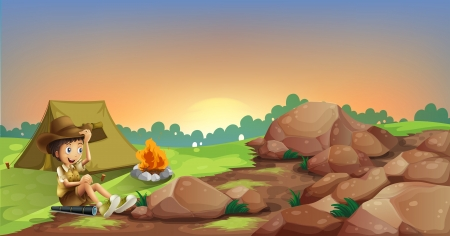 Illustration of a young boy camping near the rocks Vector