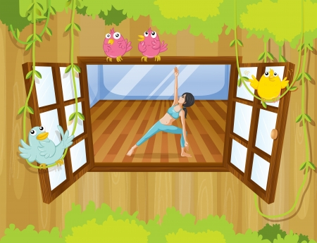 Illustration of a girl performing yoga inside a house with birds at the window Stock Vector - 20879482