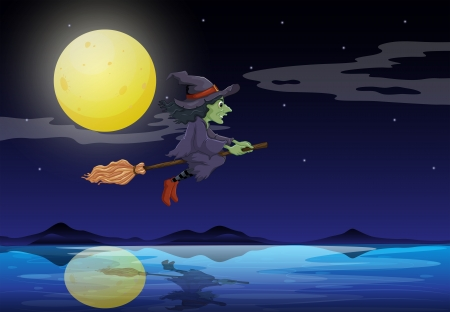 good evening: Illustration of a witch riding on a broom travelling in the middle of the night Illustration