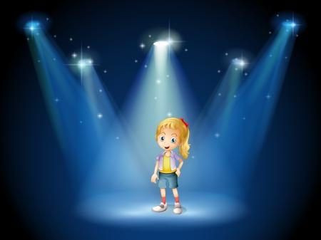 Illustration of a girl under the spotlights Stock Vector - 20889264