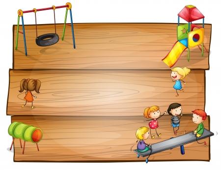 Illustratie van de lege houten borden met kinderen spelen op een witte achtergrond Vector Illustratie