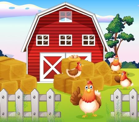 Illustratie van de kippen op de boerderij in de buurt van de rode barnhouse