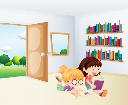 storytelling: Illustration of the two girls reading inside a room