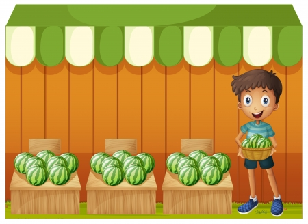 market stall: Illustration of a boy holding a basket of watermelons on a white background  Illustration