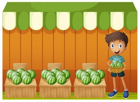 canastas con frutas: Ilustración de un niño con una cesta de sandía sobre un fondo blanco