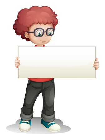 holding head: Illustration of a boy holding an empty banner on a white background