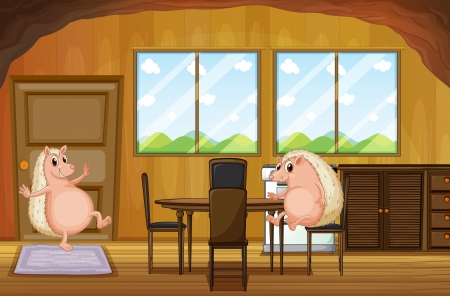 Illustration of the two molehogs inside the house  Vector