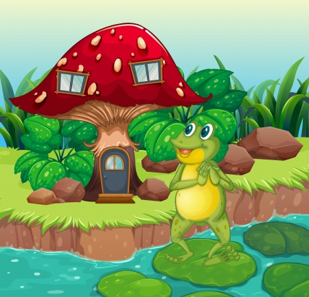 Illustration of a frog standing near the red mushroom house Illustration
