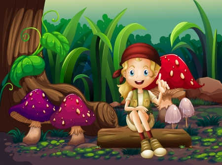 Illustration of a girl sitting on a wood with mushrooms Vector