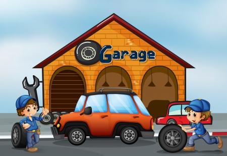 onderhoud auto: Illustratie van de twee jongens werken bij de garage
