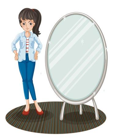 jeans apretados: Ilustración de una niña con una chaqueta de pie junto a un espejo sobre un fondo blanco