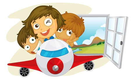 airplane window: Illustration of the kids riding on an airplane on a white background