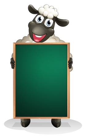 Illustration of a sheep holding an empty board on a white background  Vector