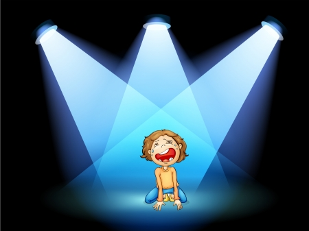 stageplay: Illustration of a girl crying in the middle of the stage with spotlights