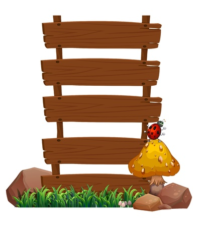 Illustration of an empty wooden signboard with a bug at the top of the mushroom on a white background Stock Vector - 20889290