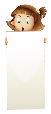 Illustration of a girl holding an empty board on a white background Stock Vector - 20889295