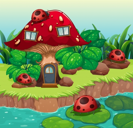 large house: Illustration of the bugs outside the mushroom house
