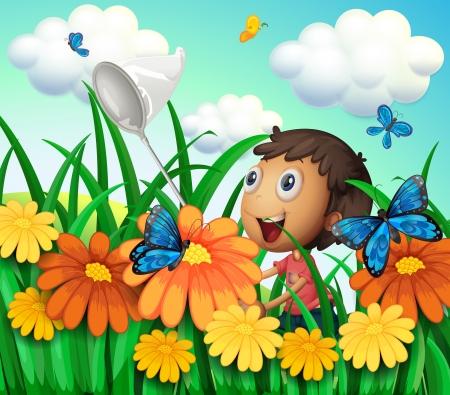 Illustration of a boy catching butterflies at the flower garden Illustration