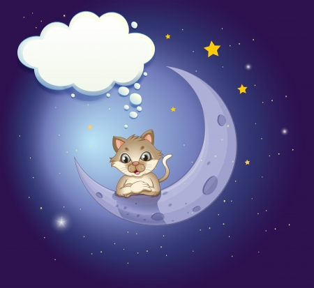 lllustration of a cat in the sky with an empty callout Stock Vector - 21094896