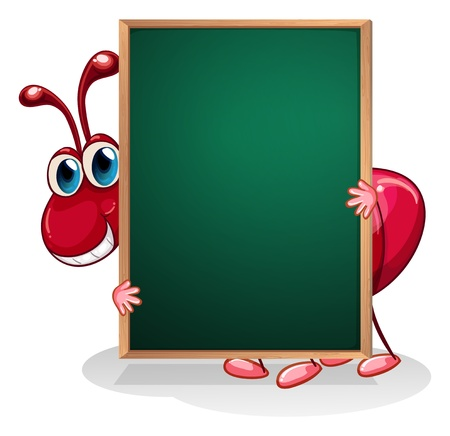 red ant: Illustration of an ant holding an empty board on a white background