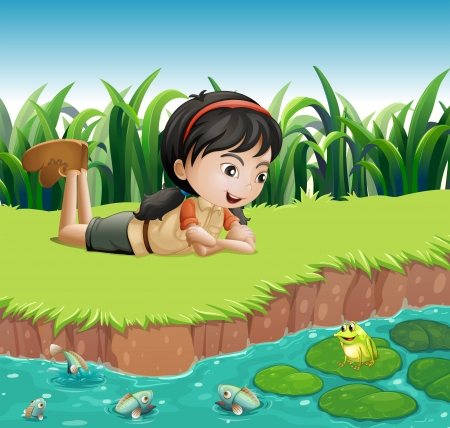 lilypad: Illustration of a girl beside a pond Illustration
