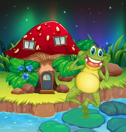 annoying: Illustration of an annoying frog near the red mushroom house