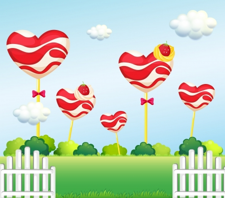 Illustration of a garden full of lollipops Vector