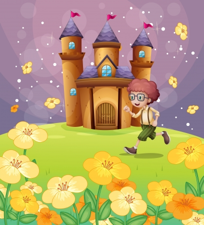 highness: Illustration of a boy running in front of the castle with flowers