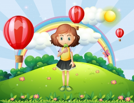 Illustration of a girl eating an ice cream at the hilltop with hot air balloons Vector