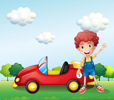 Illustration of a boy waving his hand beside a car