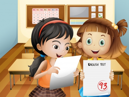 Illustration of the two girls holding their exam results Vector