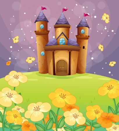 Illustration of a beautiful castle in the fields Vector